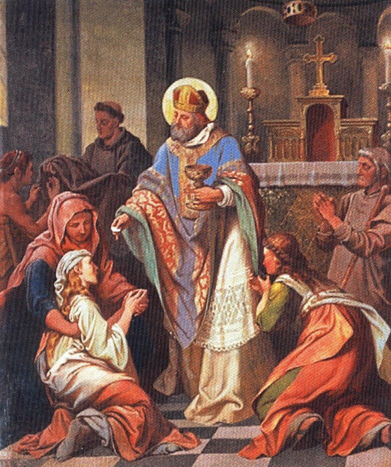 Der Heilige Simpert Bischof in Staffelsee Fresko Frh. v. Pechmann 1866