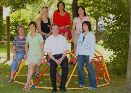 Das Kindergartenteam 2007/8 mit Pfr. Baur