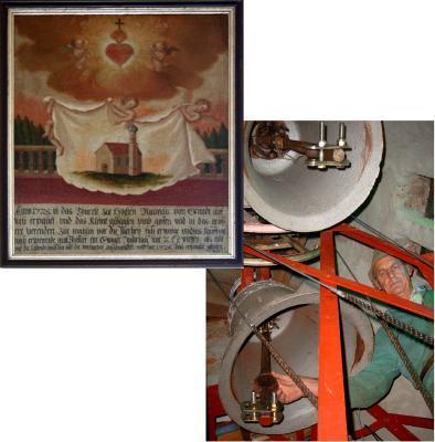 Anno 1725 ist das Thürele zur Hochen Raunau von Grund auf neu erpauet, und das kleine glögglen ump gossen und in das grössere verendert ... Anfang Oktober 2004: Der Konstukteur und Erbauer des neuen Glockenstuhlfundaments Dipl. Ing. A. Heuschmid richtet die beiden Glocken ein.