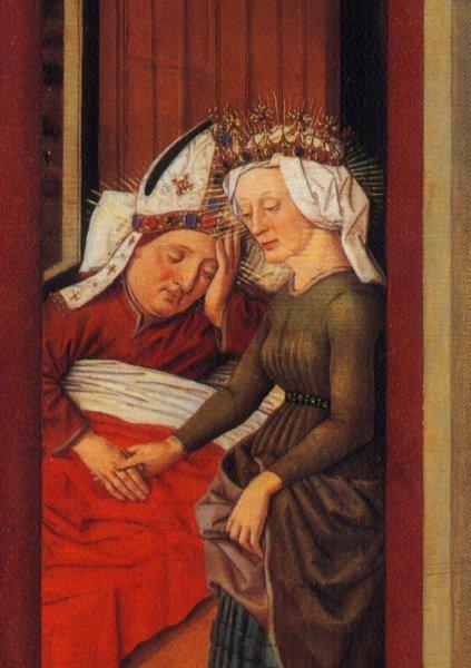 """""""Afra erscheint Bischof Ulrich im Traum"""" Ausschnitt aus einem Tafelbild, ca. 1480 in der Basilika St. Ulrich und Afra, Augsburg"""