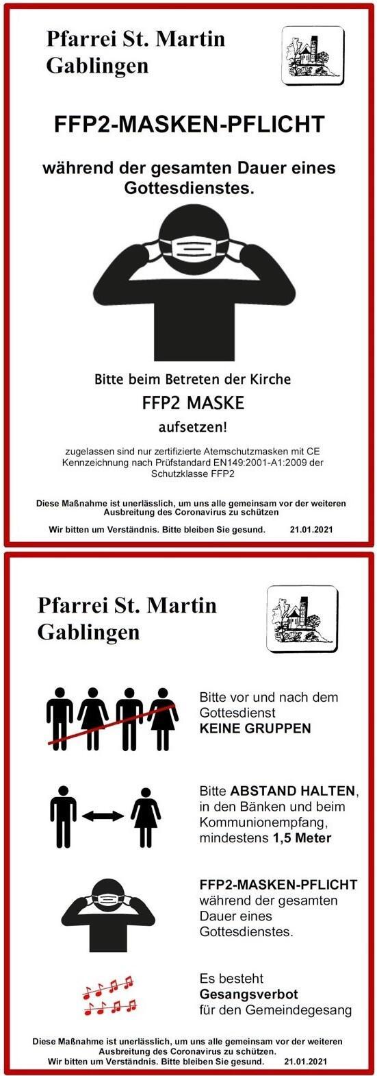 Gablingen Plakat Piktogramme FFP2 Corona 1-2