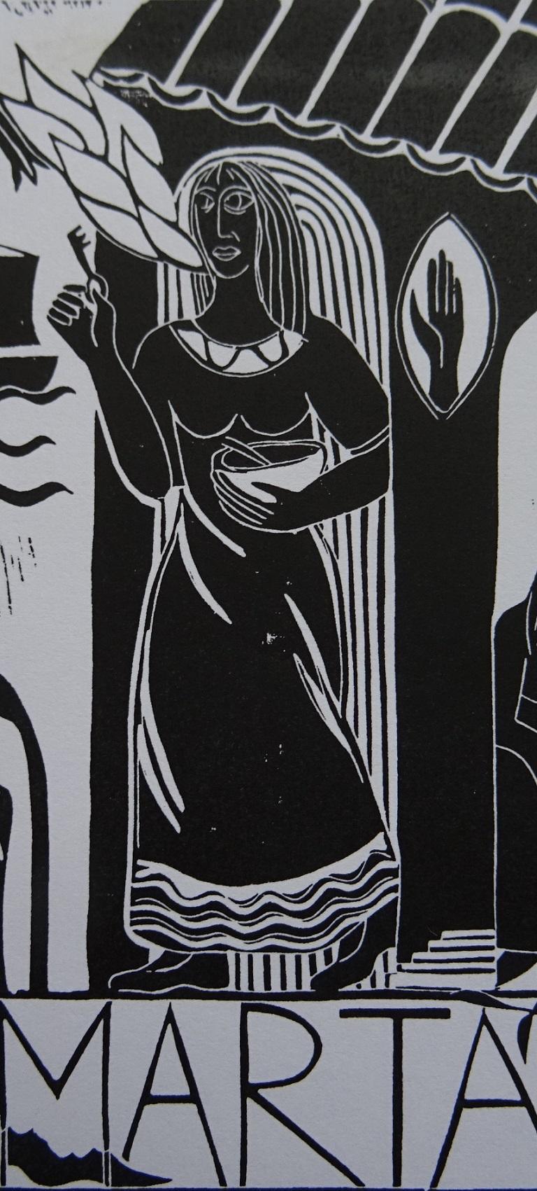 Linoldruck: Marta von Bethanien aus dem Passauer Frauentuch