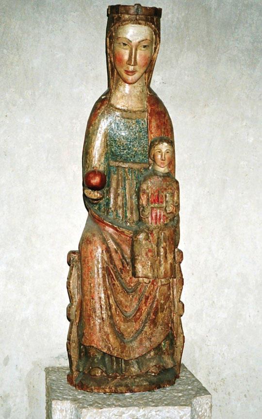 """Marienskulptur aus dem 13. Jhd. in der Krypta des Augsburger Doms; Maria als """"Sitz der Weisheit"""""""