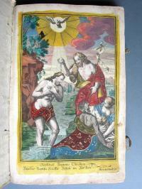 Kolorierter Kupferstich mit Darstellung der Taufe Christi im Jordan im Taufbuch von Affing, um 1754 ABA, Matrikeln Affing 2