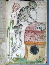 Knochenmann als Sinnbild des Todes im Sterbebuch von Blindheim, um 1658 ABA, Matrikeln Blindheim 11