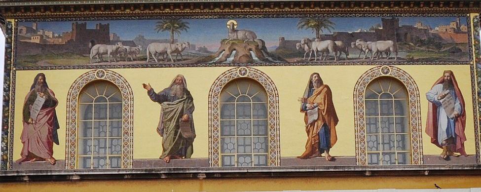 Die vier großen Propheten in der Fassade von St. Paul v. d. Mauern in Rom; rechts außen Daniel