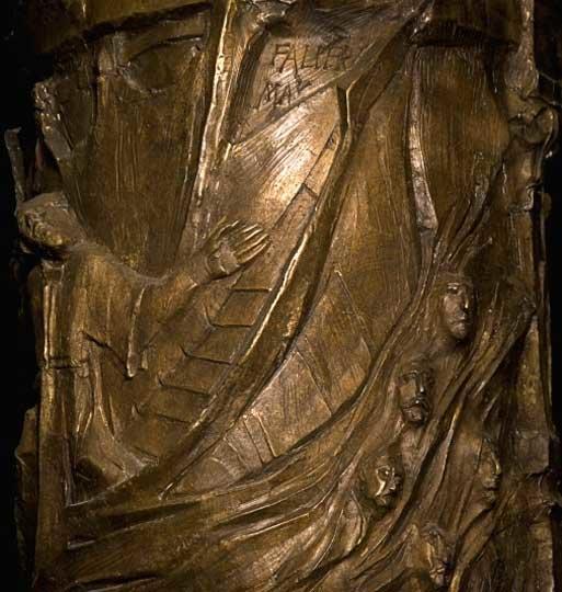 Paulus-Schifffahrt, Bronze von Max Faller, Exerzitienhaus Leitershofen