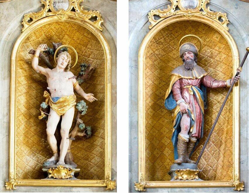 Die Heiligenfiguren der Seitenaltäre