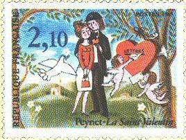 französische Briefmarke des Cartoonisten Raymond Peynet, 1985