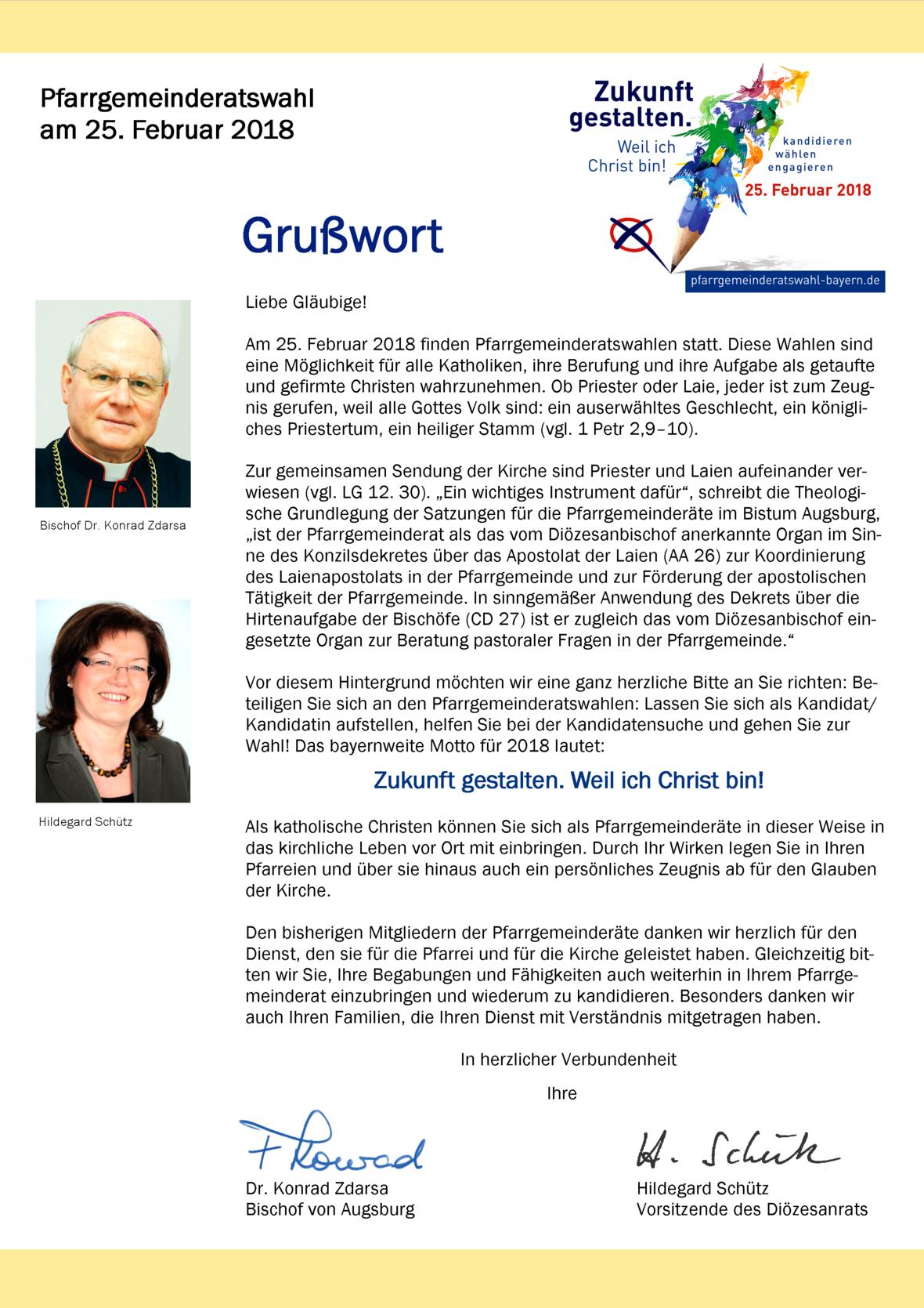 Grußwort PGR-Wahl 2018 - Bistum Augsburg