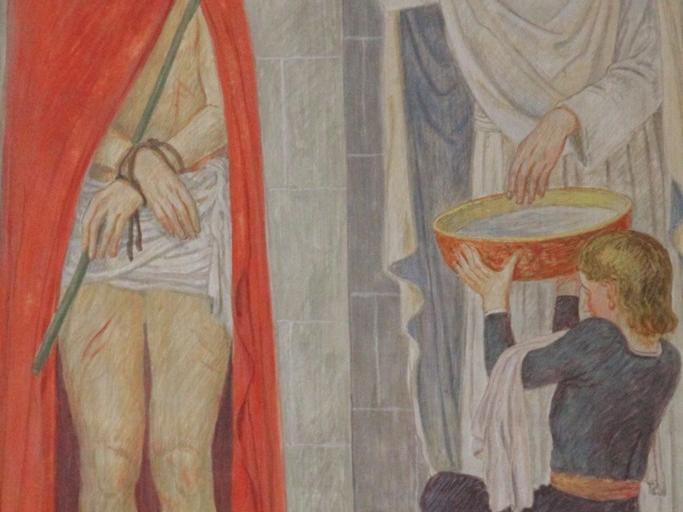 Jesus wird zum Tode verurteilt: Pilatus fällt das Urteil, Jesus steht gebunden da und schweigt.