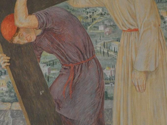 Simon von Zyrene hilft Jesus das Kreuz tragen: Der Herr vermag die Kreuzeslast nicht mehr zu tragen. Die Soldaten zwingen einen Mann, der vom Feld kommt, Jesus das Kreuz nachzutragen