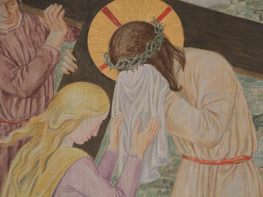 Veronika reicht Jesus das Schweißtuch: Veronika sieht Jesu Leid. Mutig dringt sie durch die Menge und bietet dem Herrn das Schweißtuch dar.