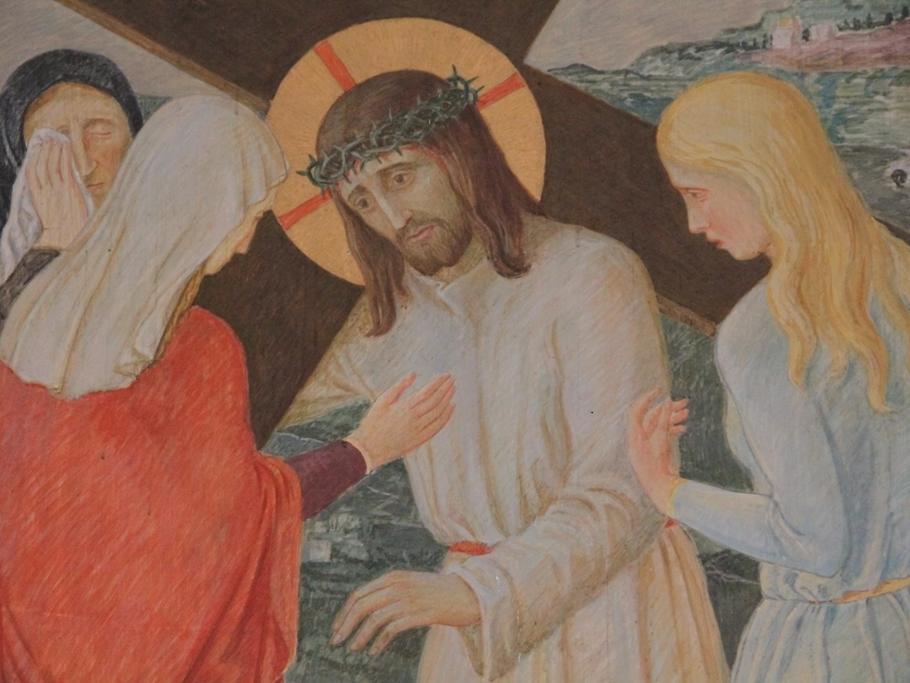 Jesus begegnet den weinenden Frauen: Am Weg stehen Frauen, die den gequälten Herrn beweinen. Er aber denkt voll Mitleid an das Unheil, das über sie kommen wird.