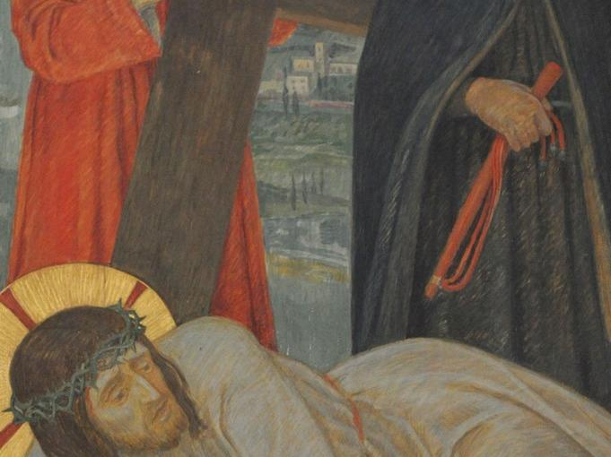 Jesus fällt zum dritten Mal unter dem Kreuz: Der Herr ist zu Tode erschöpft. Doch er will das Werk vollenden, das der Vater ihm aufgetragen hat. So rafft er sich mit letzter Kraft noch einmal auf.