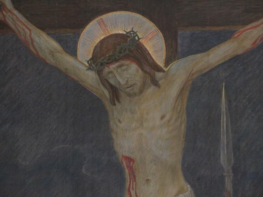 """Jesus stirbt am Kreuz: Der Herr hängt angenagelt am Holz des Kreuzes. Um die neunte Stunde schreit er mit lauter Stimme: """"Mein Gott, mein Gott, warum hast du mich verlassen?"""" Sterbend betet er: """"Es ist vollbracht. Vater, in deine Hände befehle ich meinen Geist""""."""