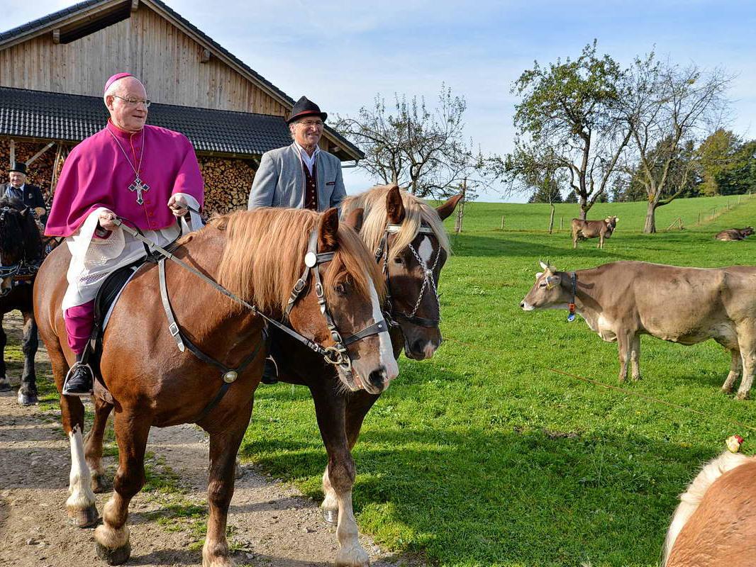 Hoch zu Ross: Bischof Konrad beim traditionellen Wendelinsritt von Scheidegg auf den Kinberg (Oktober) (Foto: Wolfgang B. Kleiner)