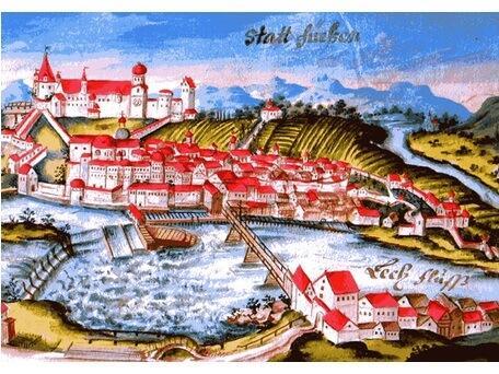 Ansicht von Füssen, Aquarellierte Federzeichnung, 1729