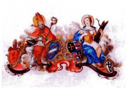 St. Ulrich und Afra, Gouachemalerei, 1749