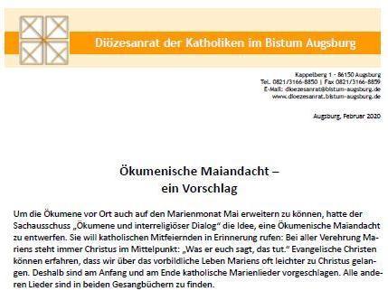 Titelseite Ökumenische Maiandacht - ein Vorschlag_2020-02