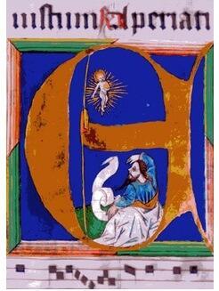 "Initiale ""E"" zu Jesaja 30,27, Buchmalerei mit Blattgold, Ende 15. Jh."