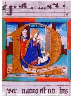 """Initiale """"P"""" zum Introitus der Weihnachtsmesse, Buchmalerei von Nikolaus Bertschi, Augsburg 1527"""