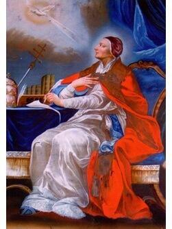 Papst Gregor der Große, Hinterglasmalerei, 18. Jh., Archiv des Bistums Augsburg
