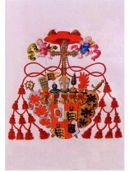Wappen des Kardinals Otto Truchseß von Waldburg, Aquarellierte Federzeichnung, 1729