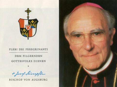 Wappen mit Devise und Porträtfoto von Bischof Dr. Josef Stimpfle, ABA Fotosammlung