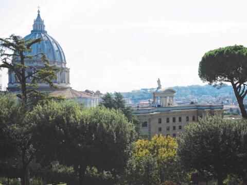Blick von den Vatikanischen Gärten auf den Petersdom (Foto: Karin Demartin)