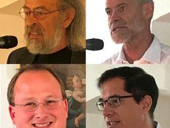 Die Referenten der Ottobeurer Studienwoche 2018: Prof. Dr. Jürgen Werlitz, Prof. Dr. Georg Fischer SJ, Dr. Dominik Helms, Prof. Dr. Thomas Johann Bauer