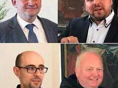 Die Referenten der Ottobeurer Studeinwoche 2019: Prof. Dr. Walter Schweidler, Dr. Stefan Ley, Dr. Mauro Fosco Bertola, Abt Johannes Schaber OSB