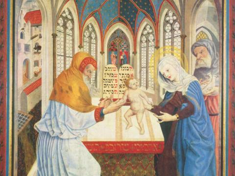 Darbringung im Tempel (Meister der Pollinger Tafeln, 1444)