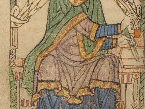 Illumination der Lebensbeschreibung seines Sekretärs und Kaplans Eadmer von Canterbury, Belgien um 1150, Getty Center, Los Angeles