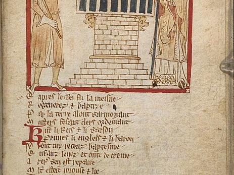 """Die Taufe Æthelberhts durch Augustinus von Canterbury, Miniatur der Reimchronik """"Roman de Brut"""", um 1325–1350, British Library"""