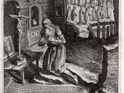 Der Einsiedler Gualfardus, aus: Carl Stengel: Der Weitberüehmbten ... Statt Augspurg ... kurtze Kirchen Chronick, Augsburg 1620. Foto: © Universitätsbibliothek Salzburg (CC BY-NC-SA 4.0)