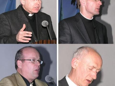 Die Referenten: Prof. Dr. Peter Homann, Prof. Dr. Dr. Thomas Marschler, Prof. Dr. P. Josip Gregur und Prof. Dr. Georg Langenhorst (v. li. oben im Uhrzeigersinn).