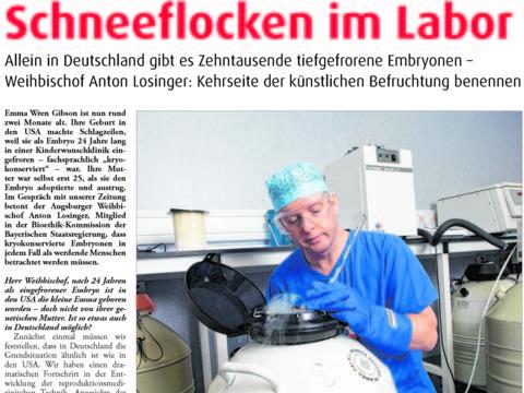2018_Kath. Sonntagszeitung_Schneeflocken im Labor_Ausschnitt Seite 1