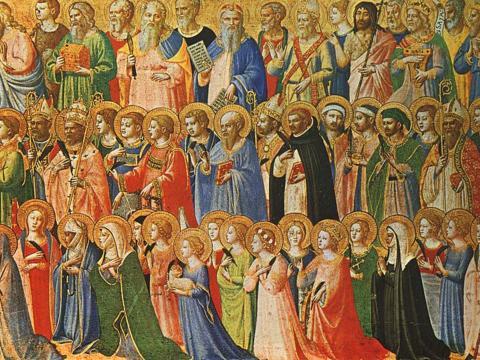 Christus im Kreise der Propheten, Heiligen und Märtyrer (Fra Angelico, 1423/24. Bild: Wikipedia)