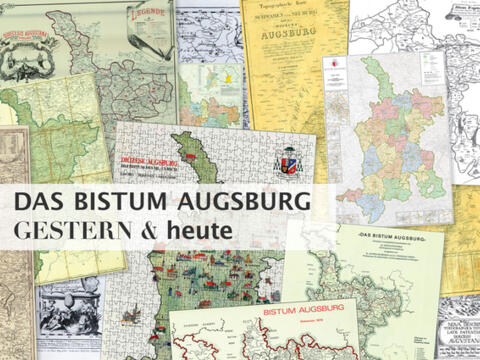 Bistumskarten aus dem Archiv des Bistums. (Collage: Sonja Haller/pba)