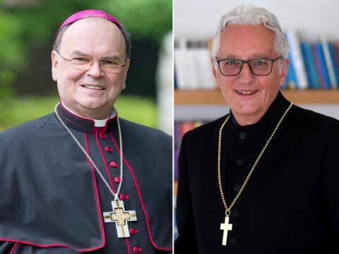 Der evangelische Regionalbischof Axel Piper und Bischof Bertram machen sich gemeinsam stark für sozialen Zusammenhalt und gegenseitigen Respekt. (Fotos: Bernd Müller / pba / Kirchenkreis Augsburg und Schwaben)