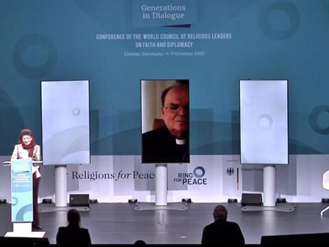 Virtuelles Grußwort von Bischof Bertram bei der Konferenz in Lindau. (Foto: Screenshot Livestream)