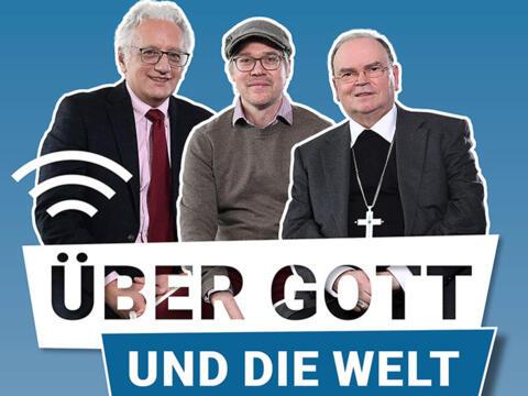 """Der neue AZ-Podcast """"Über Gott und die Welt"""". (Bild: Bernhard Weizenegger, Fotomontage in Corona-Zeiten: drei Einzelfotos montiert)"""