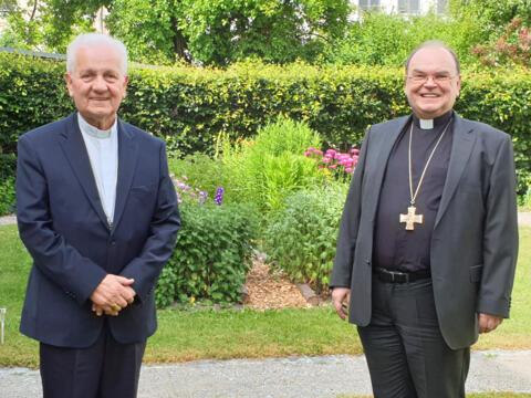 Bischof Franjo Komarica aus Banja Luka zu Gast bei Bischof Bertram. (Foto: Bischofshaus)