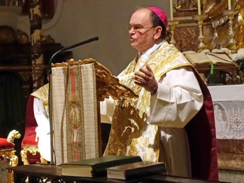 Bischof Bertram predigt in der Klosterkirche von Andechs über die heilige Elisabeth. (Fotos: mG/Kloster Andechs)