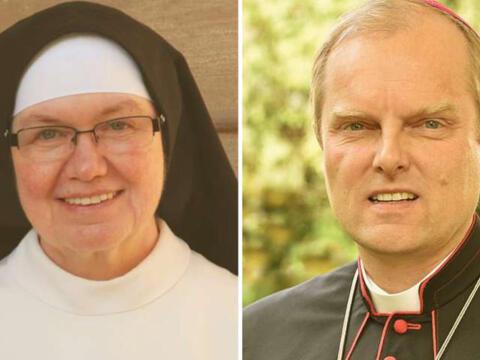 Schwester Dr. Theresia Mende OP und Weihbischof Florian Wörner (Fotos: Privat/Nicolas Schnall, pba)