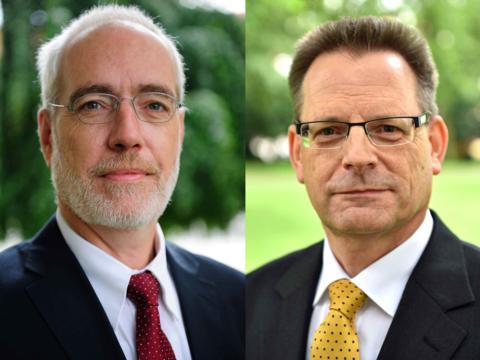 Neue Hauptabteilungsleitung: Diözesanrechtsdirektor Reiner Sroka (r.) und sein Stellvertreter Stefan Frühwald (Fotos: Daniel Jäckel / Nicolas Schnall / pba)