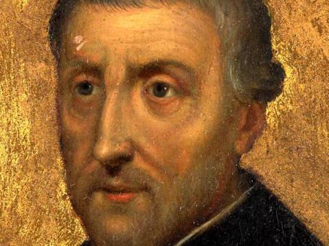 Ehemaliger Domprediger in Augsburg: der hl. Petrus Canisius. (Miniatur 1699, Rijksmuseum Amsterdam).