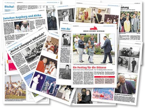 """Facettenreich: Auf 40 bunten Seiten stehen Interessantes und Unbekanntes aus dem Leben unseres neuen Bischofs. (Collage """"Sonderausgabe"""": SUV / Iris Hahn / pba)"""