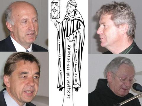 Die Referenten der Ottobeurer Studienwoche 2009: Prof. Dr. Theodor Seidl, Prof. Dr. Franz Sedlmeier, Prof. Dr. Thomas Söding, Abt Prof. Dr. Christian Schütz OSB.